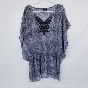 ND New Directions Sheer Snakeskin Print Top